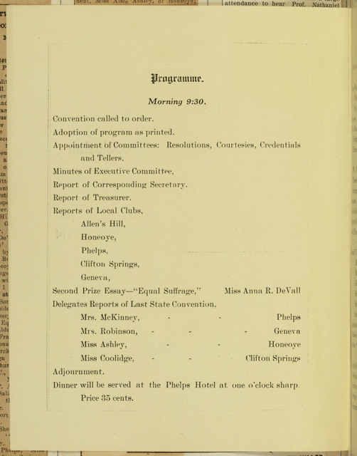 Ontario County Woman Suffrage Association, sixth annual convention