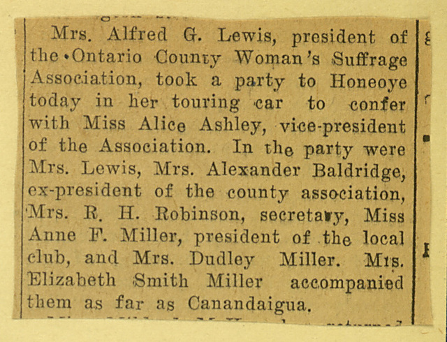 Ontario County Woman Suffrage Convention