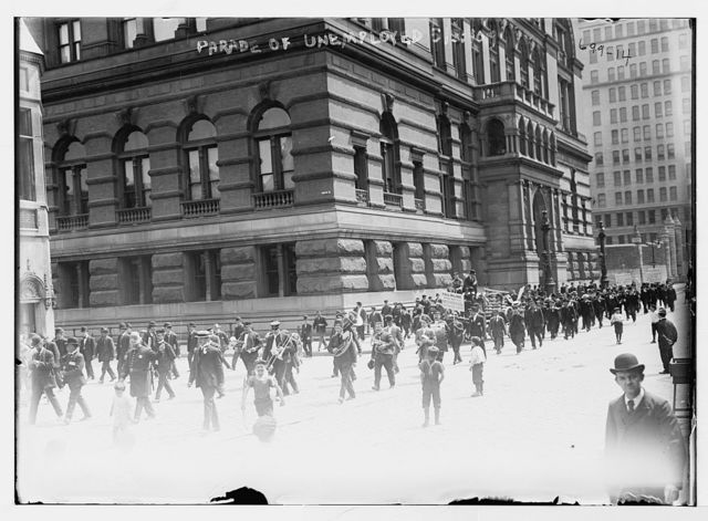 Parade of unemployed, marchers and band, New York