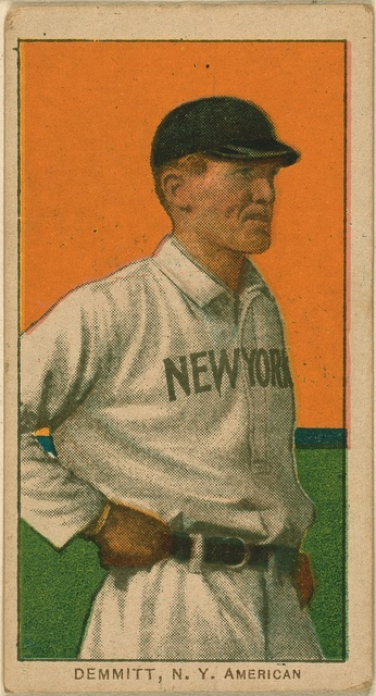[Ray Demmitt, New York Highlanders, baseball card portrait]
