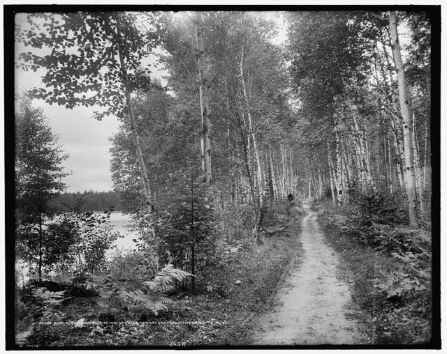 Road to the chapel, the Inn, Upper Saranac Lake, Adirondack Mts., N.Y.