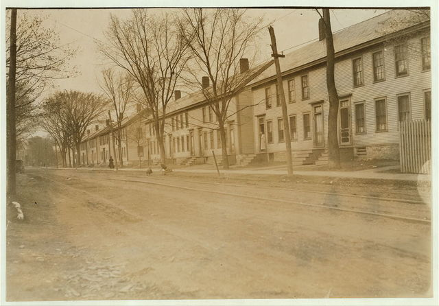 Row of mill houses belonging to Holden, Leonard Co., woolen mill, Bennington, Vt. Rents are from $6 to $8 a month.  Location: Burlington, Vermont.