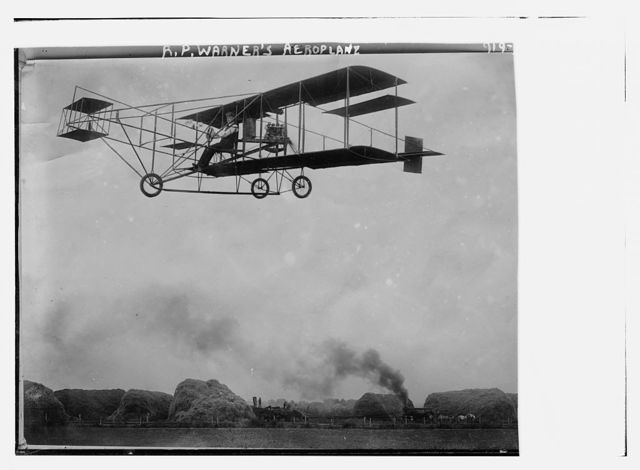 R.P. Warner's aeroplane, in flight