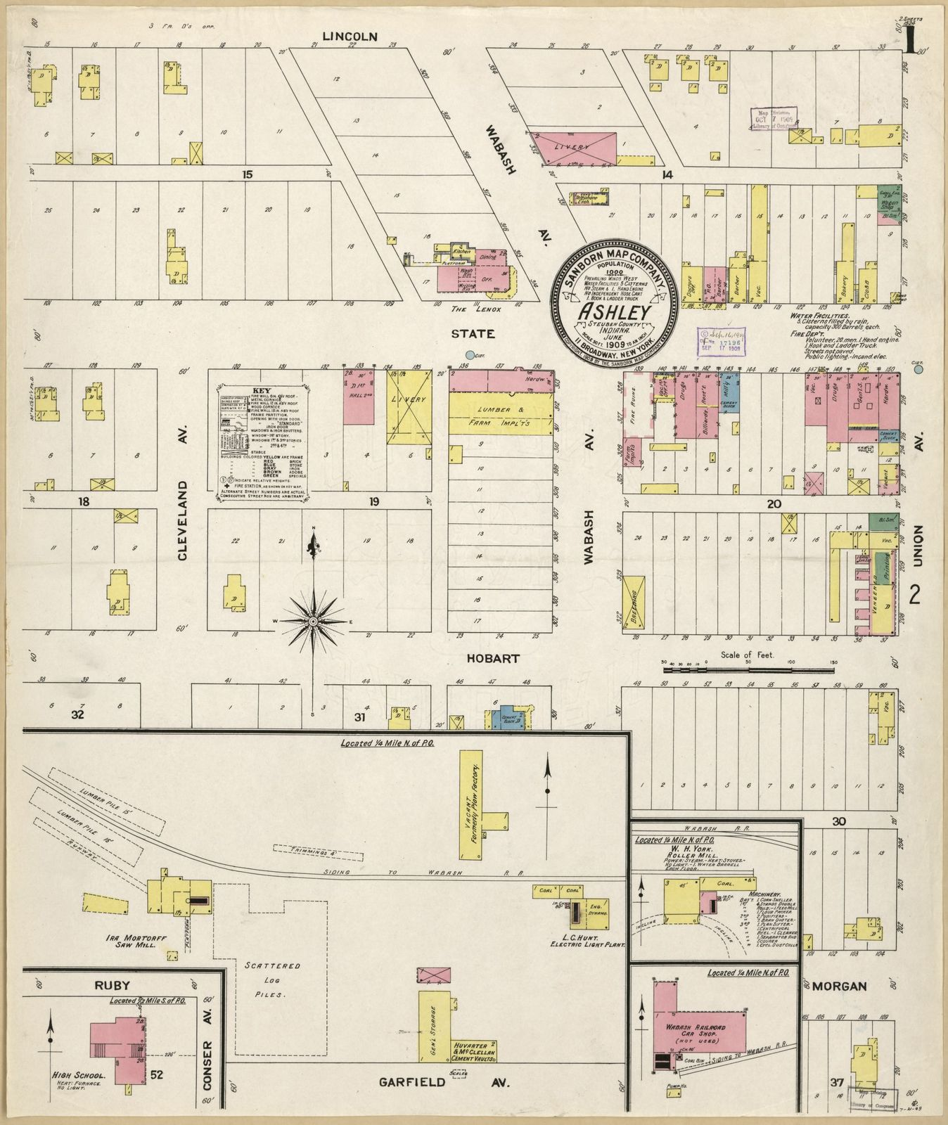 Steuben County Indiana Map.Sanborn Fire Insurance Map From Ashley Steuben County Indiana