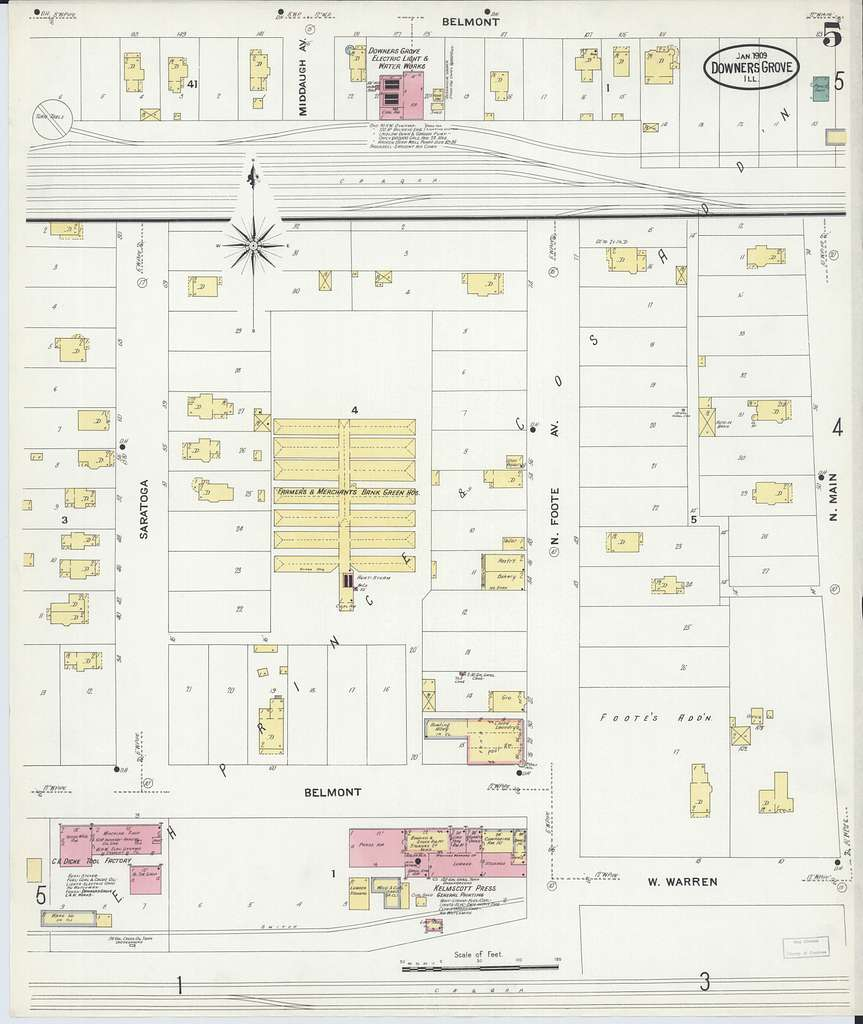 Sanborn Fire Insurance Map from Downers Grove, Dupage County, Illinois