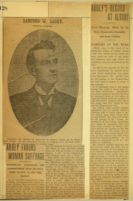 Sanford W. Abbey favors woman suffrage and record at Albany