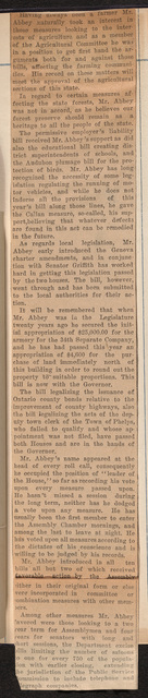 Sanford W. Abbey favors woman suffrage and record at Albany; page 2