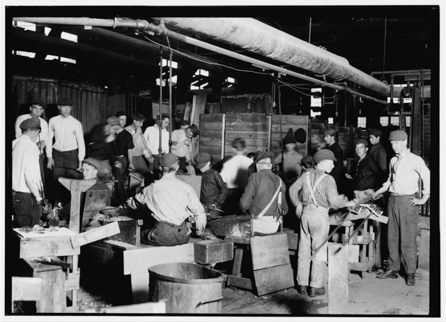 [Scene in More-Jonas Glass Co., Bridgeton, N.J. Several young boys are to be seen in photo.]  Location: Bridgeton, New Jersey.