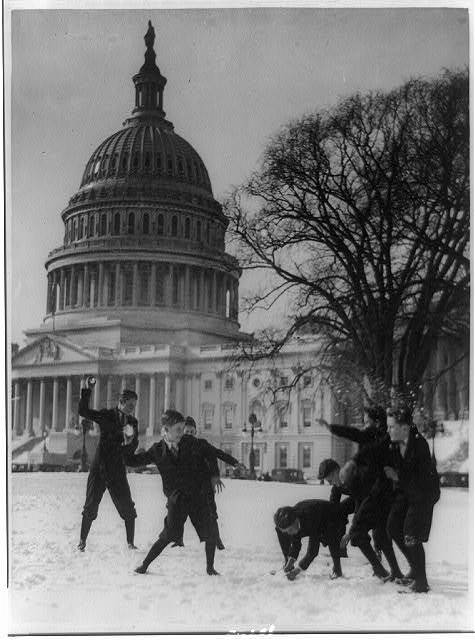 [Senate page boys stage their first snow battle on the Capitol plaza]