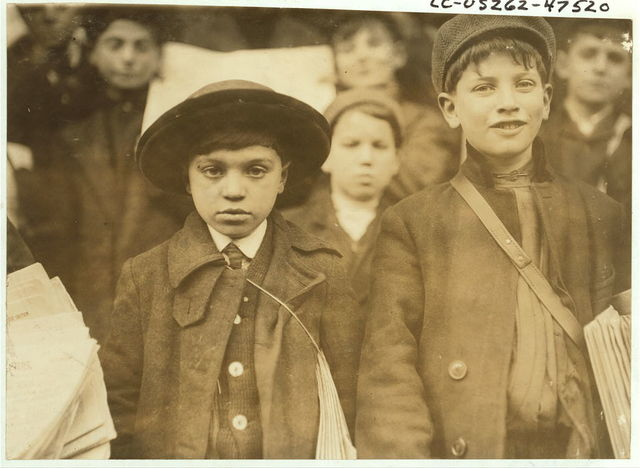 Smallest boy is Max Schwartz (8 yrs. Old) and Jacob Schwartz, 163 Howard St., Newark, N.J. Sell until 10 P.M. sometimes, [photo by].  Location: Newark, New Jersey / Lewis W. Hine.