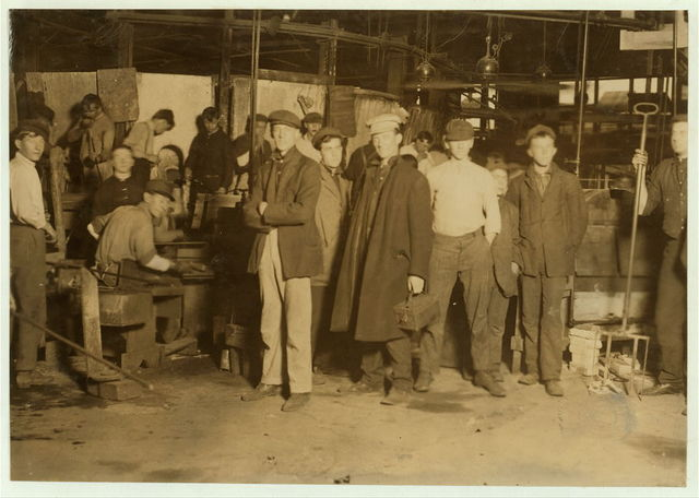 Some of the night shift waiting to go to work. Cumberland Glass Works, Bridgeton, N.J.  Location: Bridgeton, New Jersey.