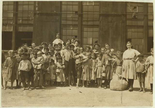 Some of the workers in a Md. packing company. Plenty of work for even the tiniest hands. Many have to carry heavy boxes full of beans etc.  Location: [Baltimore, Maryland].