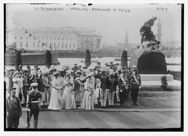 Spectators at unveiling of monument to Peter, St. Petersburg