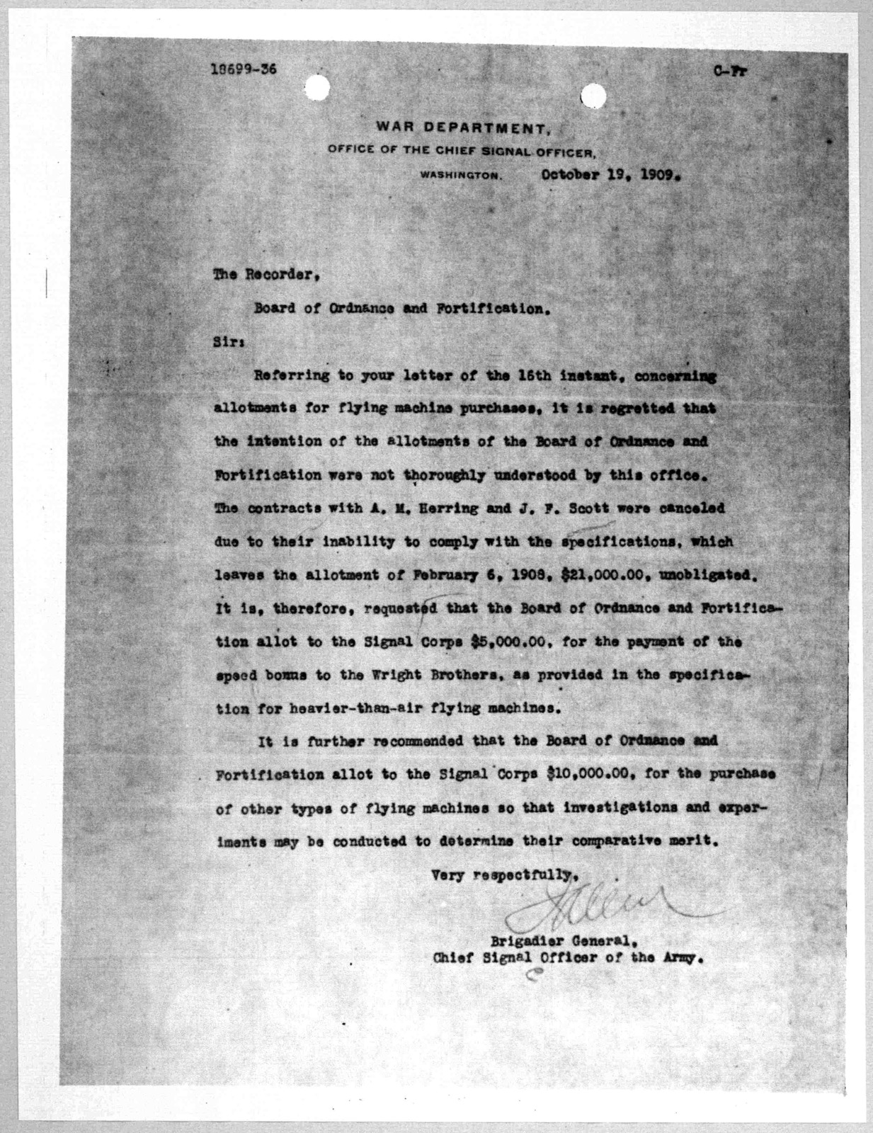 Subject File:  United States--War Department--Army Signal Corps--Correspondence, 1909-1911
