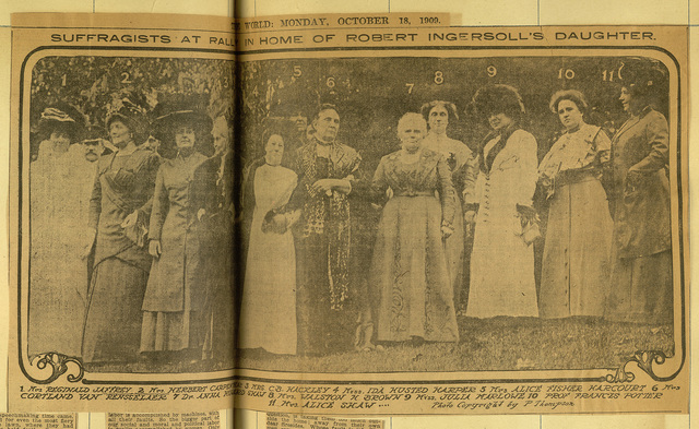 Suffragists At Rally in Home of Robert Ingersoll's Daughter, Mrs. Walston Brown
