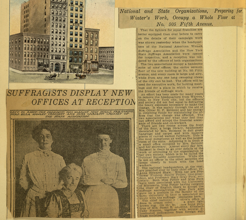 Suffragists Display New Offices at Reception