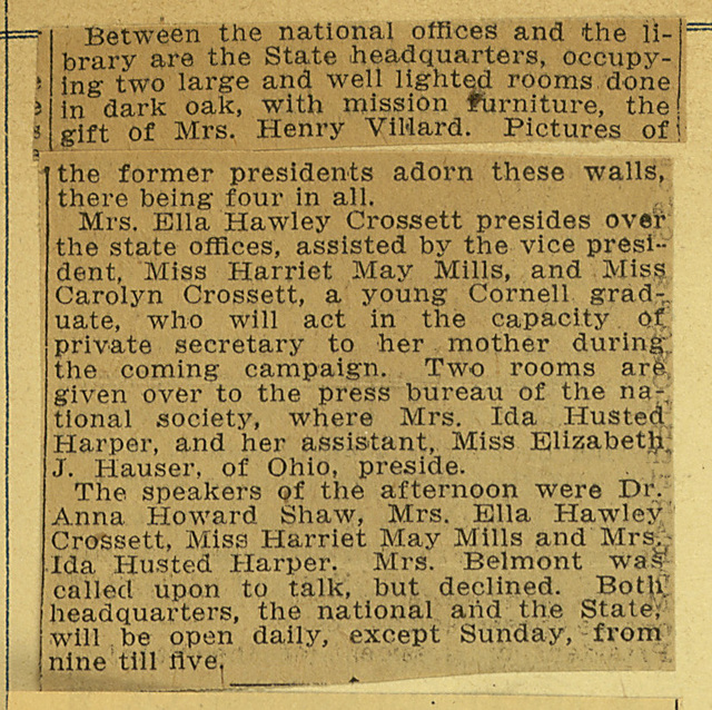 Suffragists Display New Offices at Reception; page 2