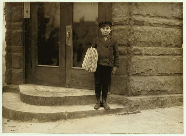 Sunday morning, March 7, 1909. Morris Hurowitz, 10 years old. Been selling 2 years. Sells Saturday until 8 P.M. Starts out again Sunday at 7 A.M. Sells 25 or more Sunday papers. Is a bright business-like chap, but shows signs of nervousness, (eye twitching, etc.) See photo 608.  Location: Hartford, Connecticut.