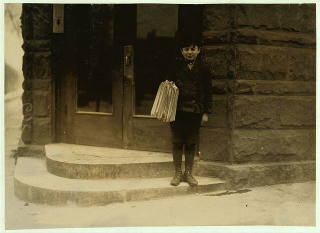 [Sunday morning, March 7, 1909. Morris Hurowitz, 10 years old. Been selling 2 years. Sells Saturday until 8 P.M. Starts out again Sunday at 7 A.M. Sells 25 or more Sunday papers. Is a bright business-like chap, but shows signs of nervousness, (eye twitching, etc.) photo 608.]  Location: Hartford, Connecticut.
