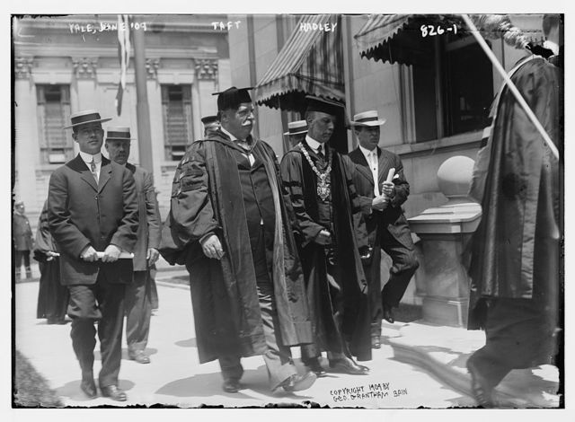 Taft and Hadley in academic dress at Yale, New Haven, Conn.
