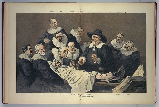 "Taft and his cabinet --after Rembrandt's ""Anatomy Lesson"""