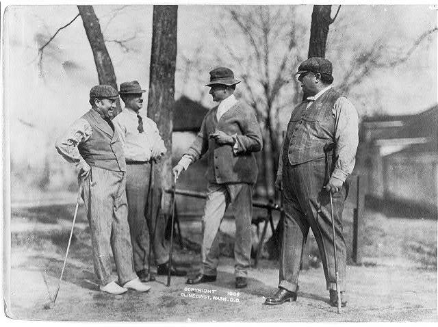 Taft golf cabinet [standing with golf clubs] (March 1909). From left to right: Sherman; Butt; Edwards; Taft