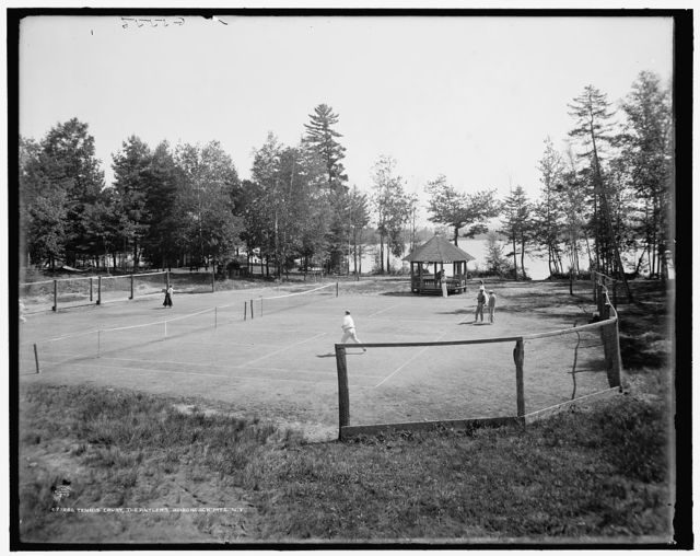 Tennis court, the Antlers, Raquette Lake, Adirondack Mts., N.Y.