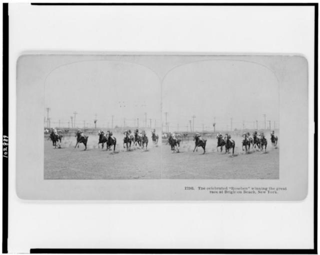 "The celebrated ""Roseben"" winning the great race at Brighton Beach, New York"