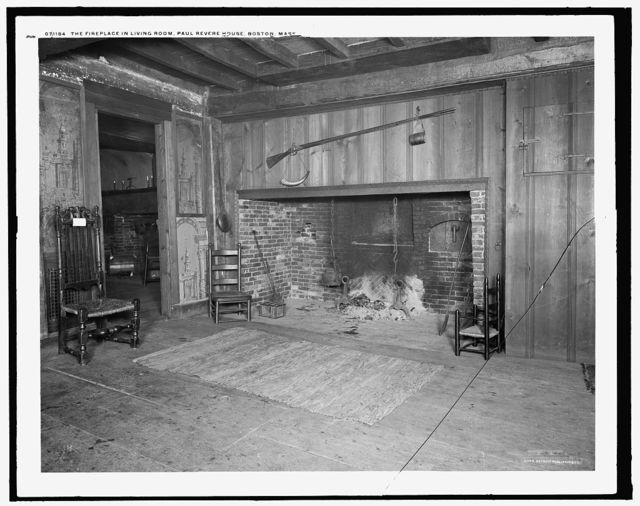 The Fireplace in living room, Paul Revere House, Boston, Mass.