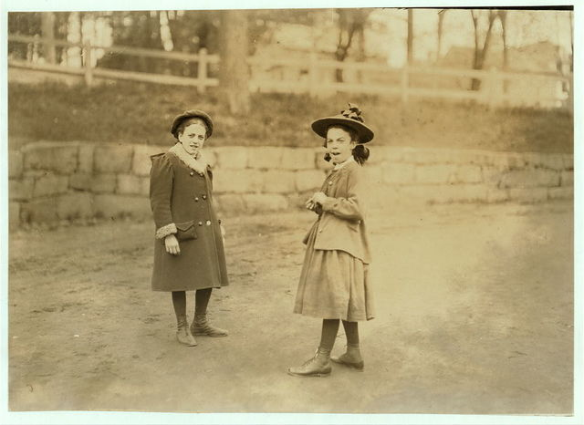 The girl on right hand works regularly in Great Falls Mfg. Co., Somersworth, N.H. Eva Vanasse, 82 Washington St. Been there two months. The other girl goes to school.  Location: Somersworth, New Hampshire.