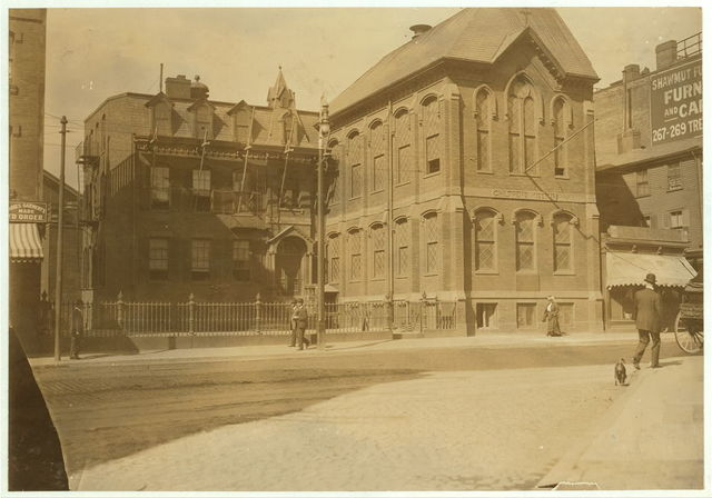 The Newsboys Building. Intended to Counteract the Attractions of the street.  Location: Boston, Massachusetts.