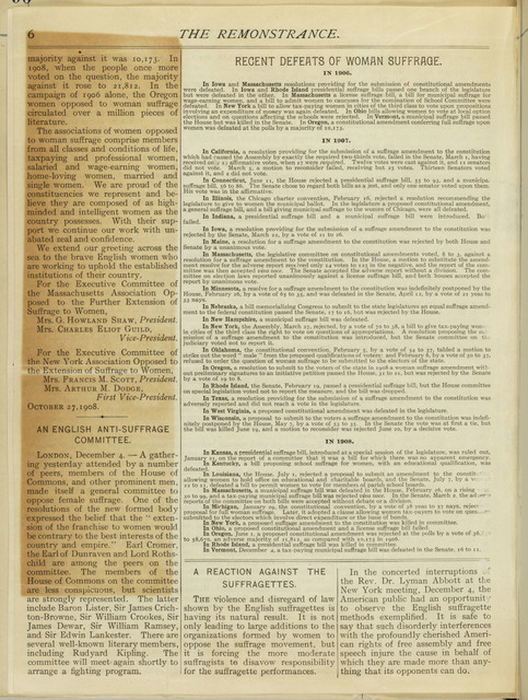 The Remonstrance, Quarterly publication of Massachusetts Association Opposed to the Further Extension of Suffrage to Women