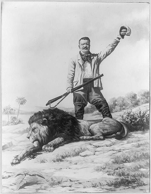 [Theodore Roosevelt with dead lion]