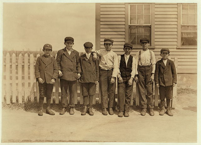 These are some of the sweepers and mule room boys working in Valley Queen Mill. River Point, R.I. Several of the smallest ones there said they had been working there 3 years and over. Speak no English.  Location: River Point, Rhode Island.