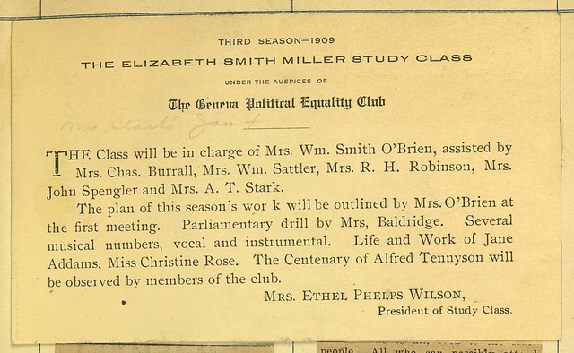 Third Season-1909: Elizabeth Smith Miller Study Class