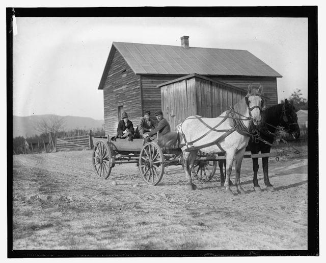 [Three people in horse drawn wagon]
