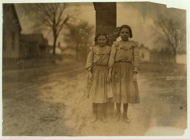 Two girls working in Calvine Mfg. Co., Charlotte, N.C. Been in mill one year. Helped sister before that. Superintendent did not allow me to take photos in mill.  Location: Charlotte, North Carolina.