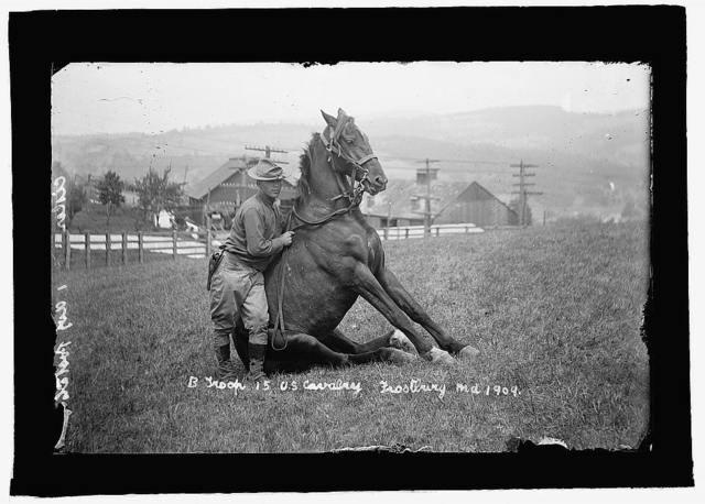 U.S. Army horse stunts, B Troop, 15th U.S. Cavalry, Frostburg, Md., 1909