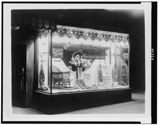 [Vacuum cleaners on display at the J.C. Harding & Co. store, probably in Washington, D.C.]