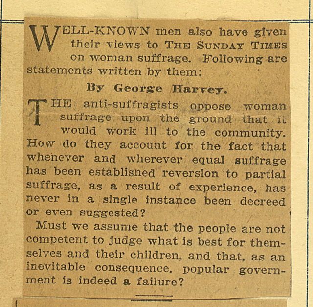 Views on Woman Suffrage by Well-known men and women: George Harvey