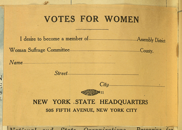 Votes For Women New York State Woman Suffrage Association membership card