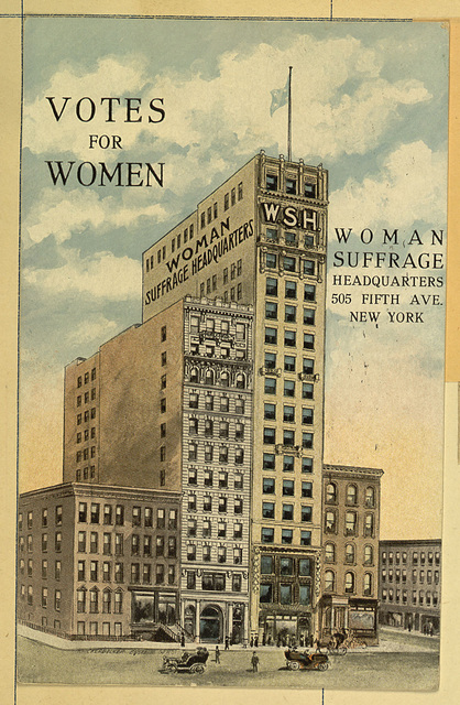 Votes for Women postcard; Color Illustration of Woman Suffrage Headquarters Building, Fifth Avenue, New York City