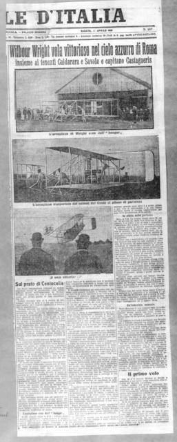Wilbur Wright vola vittrosisoso nel cicloazzurro di Roma insieme aiteneti Caldarara e Savoia e capitano Castagneris [L'Italia, 17 April 1909]