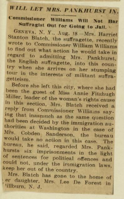 Will Let Mrs. Pankhurst into U. S.