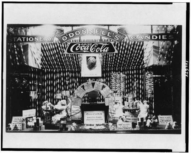 [Window display featuring Pond's Extract products in O'Donnell's drugstore, probably in Washington, D.C.]