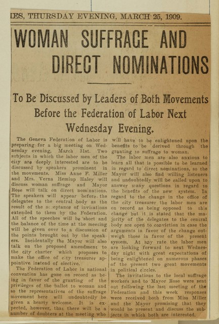 Woman Suffrage and Direct Nominations