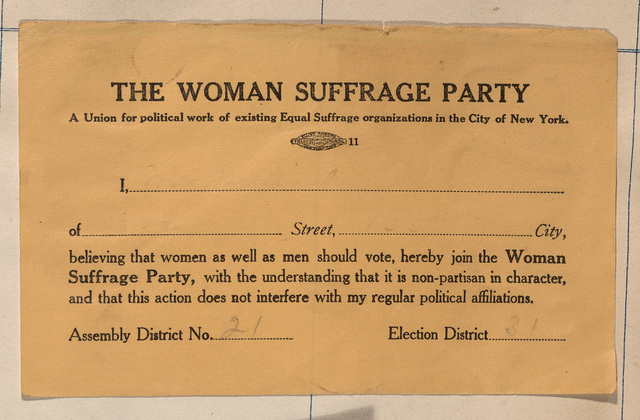 Woman Suffrage Party Membership Card