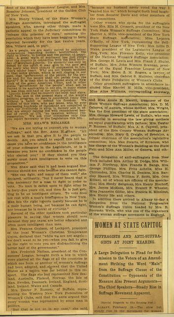 "Women Invade Albany; Suffragists and ""Antis"" Attend Hearing; page 2"
