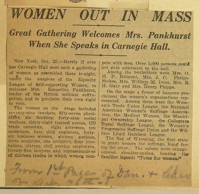 Women Out in Mass to Welcome Mrs. Pankhurst