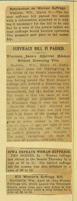 Women's Suffrage Bill in Wisconsin